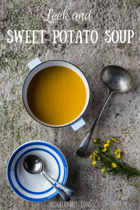 Leek and Sweet Potato Soup in an large pot with a ladle ,soup bowl and spoon on a snowy backdrop