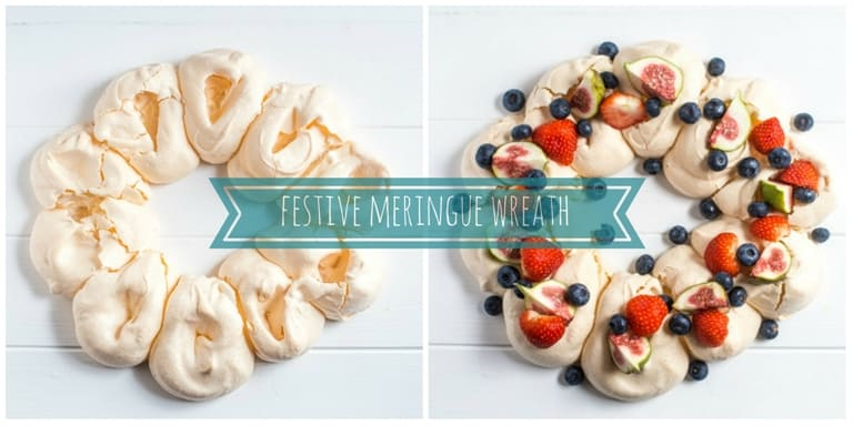 Festive Meringue Wreath with berries and figs