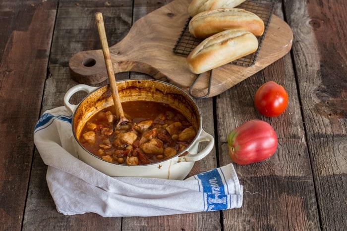 Chicken, chorizo and chickpea stew