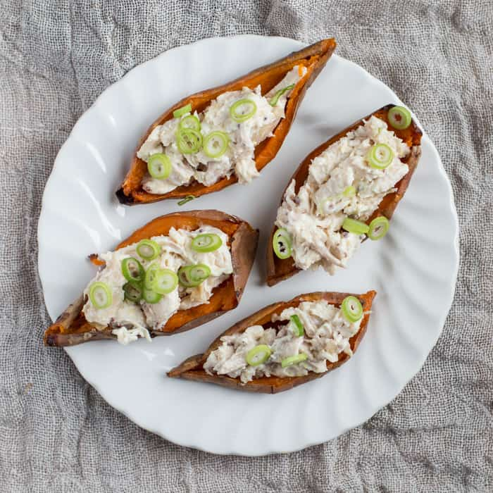 Chicken Loaded Sweet Potato Skins