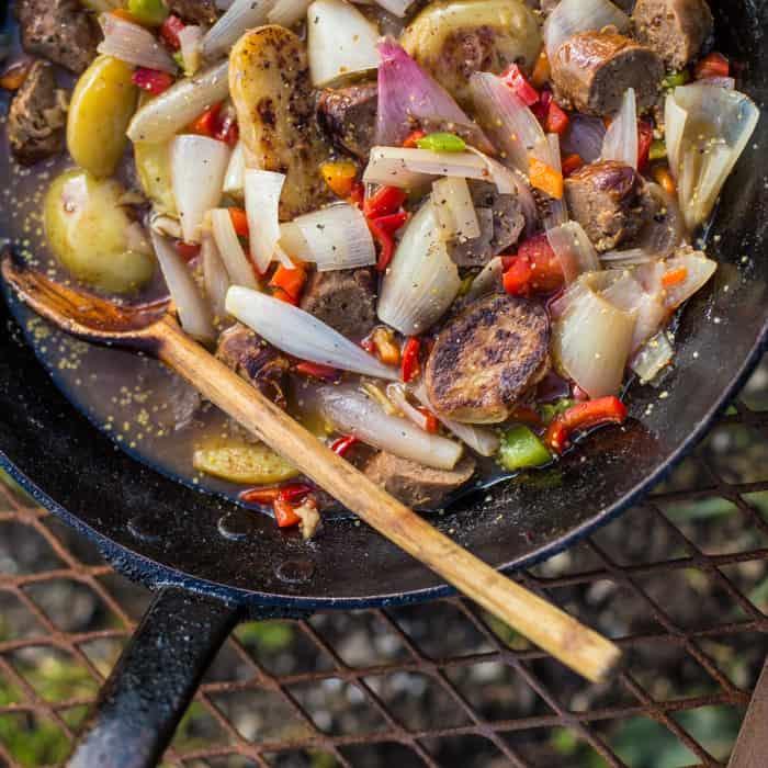 Sausage and Cider Campfire Skillet