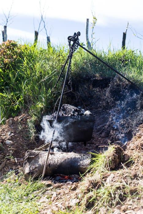 Dutch Oven Roast Chicken over a camp fire