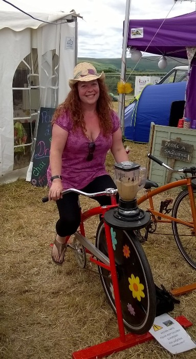 Jane on the blender bike making her Easy Iced Coffee