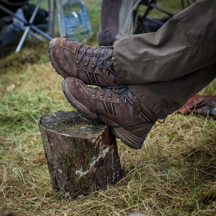 feet up on a tree stump