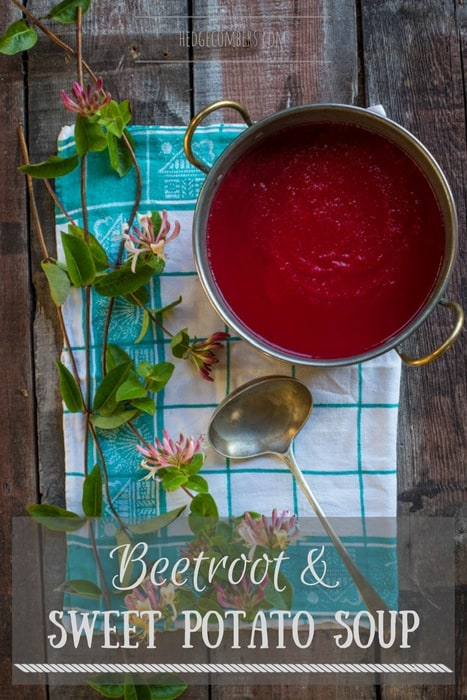a pan of Beetroot and Sweet Potato Soup with a ladle and honeysuckle vines and flowers on a checkered cloth