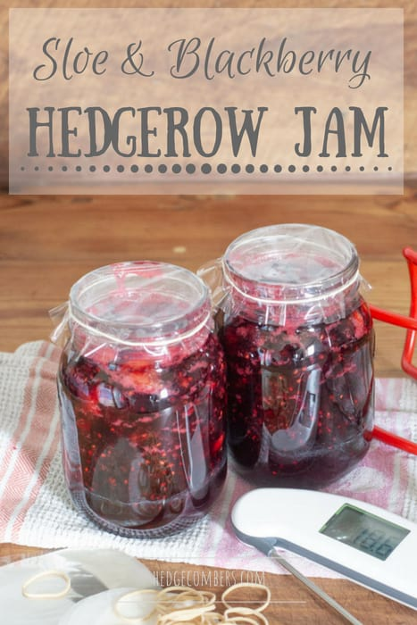 wooden background with 2 glass jars of sloe and blackberry hedgerow jam and various items used in jam making