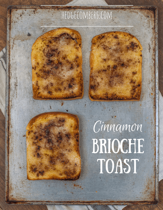 Cinnamon Brioche Toast on a baking tray