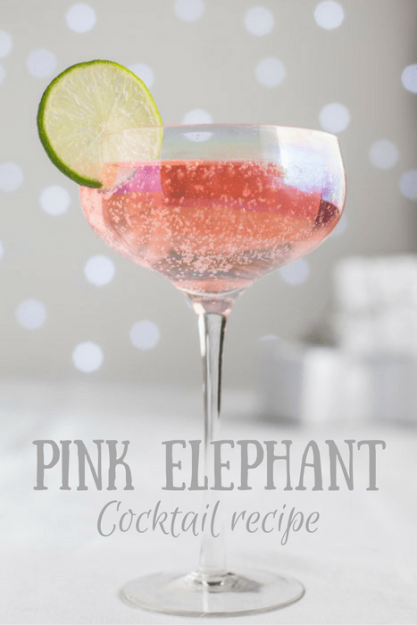 Glass of Pink Elephant Cocktail garnished with a slice of Lime