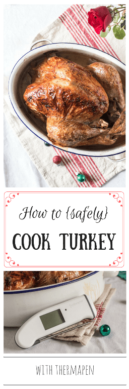 How to Safely Cook Turkey roast turkey in a roasting tin with a rose beside