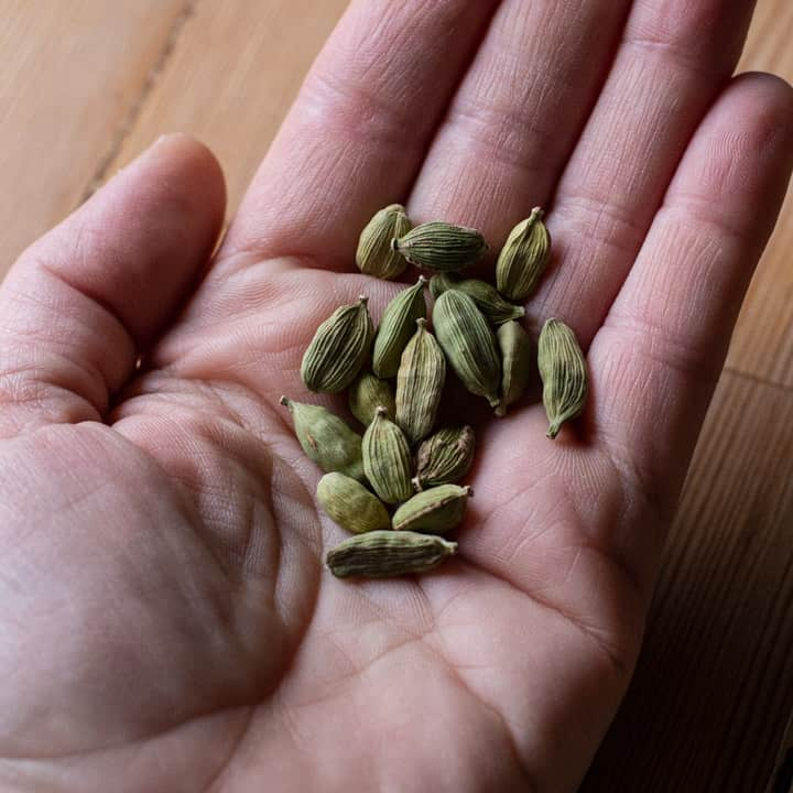 womans hand holding green cardamom pods