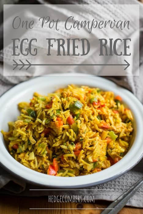 One Pot Campervan Egg Fried Rice in a white bowl on a grey cloth