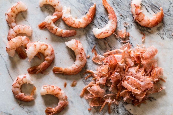 Argentinian Red Shrimp on a marble board to make Red Shrimp Tempura with Spicy Soy Dipping Sauce