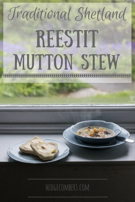 Traditional Shetland Reestit Mutton Stew a white bowl on a window ledge beside a plate with a buttered bannock