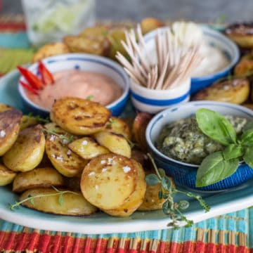 Saute Potatoes with a Trio of Mayo Dips