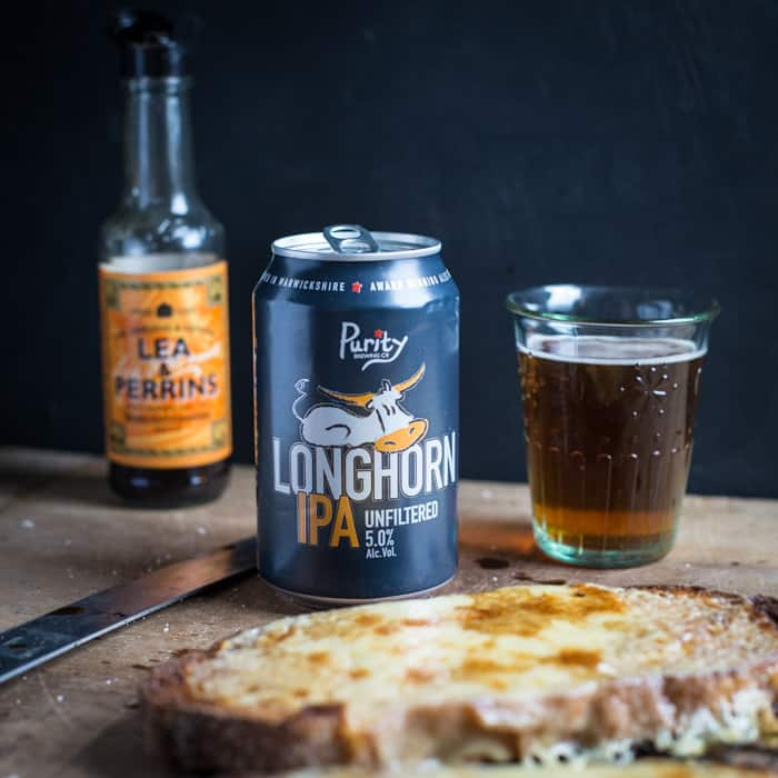 Can of Longhorn IPA beer with cheese on toast