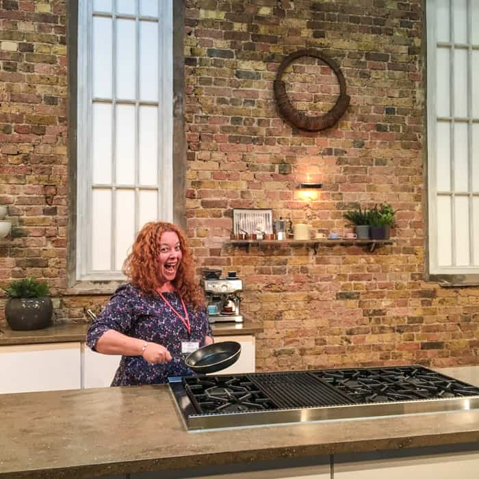 Jane Sarchet on the Saturday Kitchen set holding the famous omelette pan!