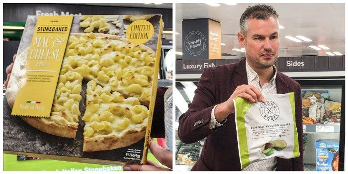 Frozen Iceland Mac n Cheese pizza and frozen avocado halves