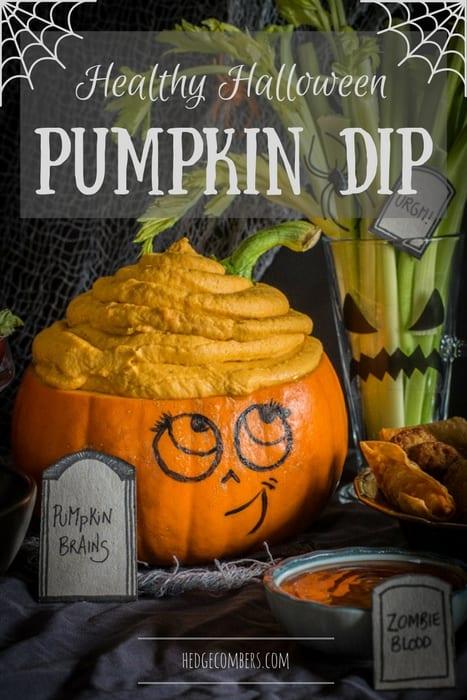 Cute Halloween pumpkin head buffet with pumpkin brain dip!