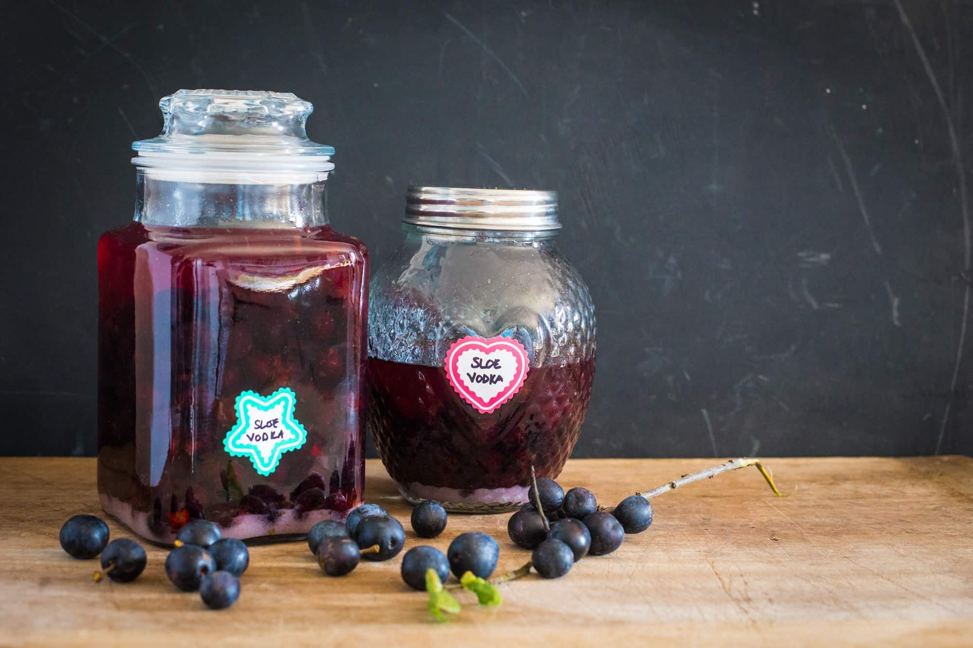 Homemade sloe vodka