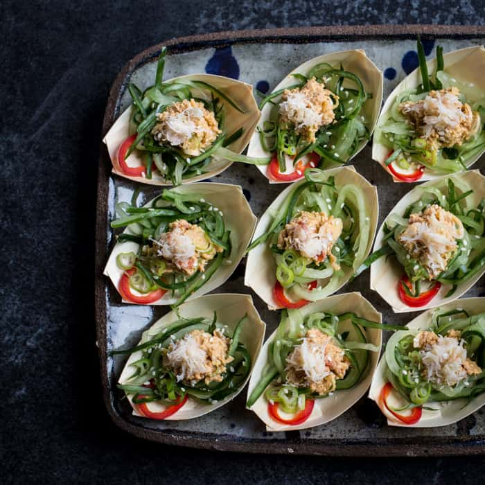 Serving tray with bite size portions of Asian crab and lemongrass salad
