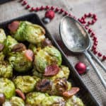 Smashed Roast Sprouts with Bacon and Chestnuts