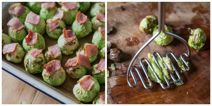 Smashed Roast Sprouts with Bacon and Chestnuts rady for smashing with a potatomasher