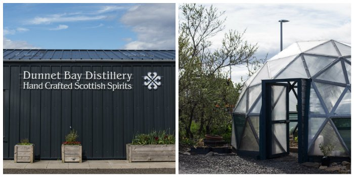 Dunnet Bay Distillery with a bright blue sky and geo design dom for growing botanicals