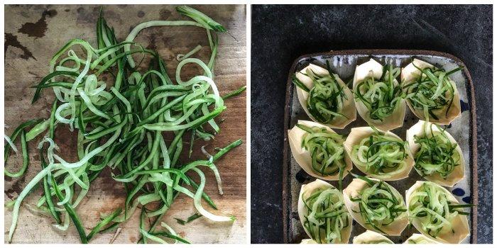 preparing cucumber noodles