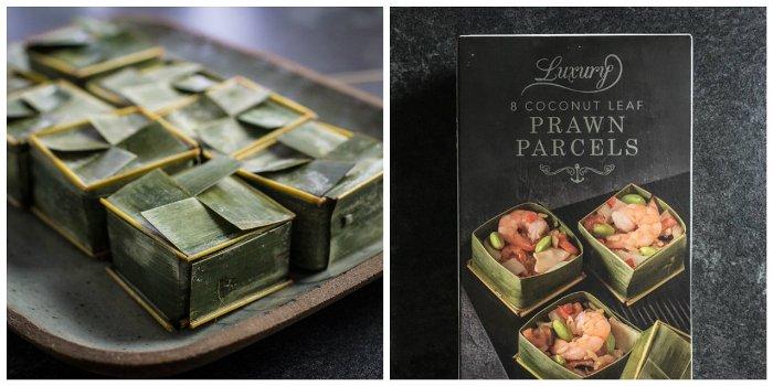 Iceland coconut leaf prawn parcels