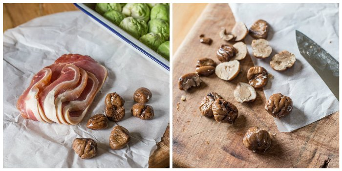 Ingredients for Smashed Roast Sprouts with Bacon and Chestnuts