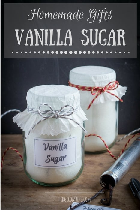Pretty glass jars of homemade vanilla sugar to give as gifts, one of my 25 Homemade Christmas Gift Ideas