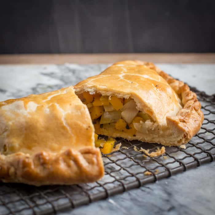 A yummy homemade Butternut and Sage Pasty