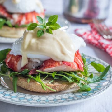 Lobster tail, poached eggs and Hollandaise sauce on a toasted English muffin