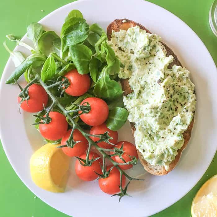 healthy goats cheese bruschetta with vibrant fresh salad