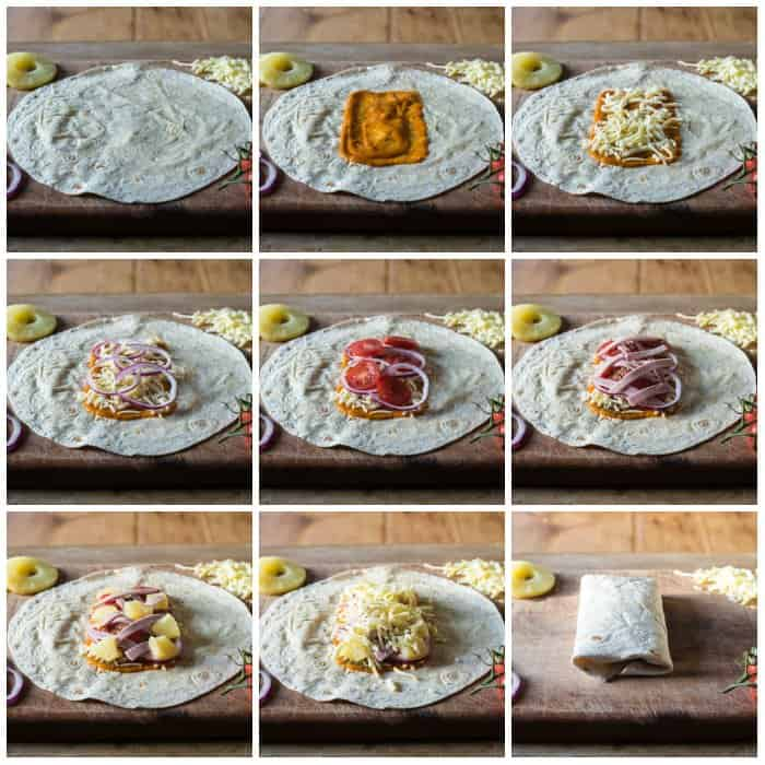 step by step pics to building a stovetop pizza pocket