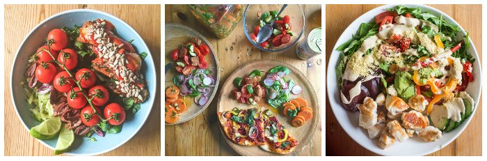 Three delicious and healthy, vibrant lunches