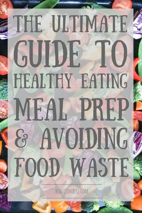 background of brightly coloured fresh vegetables with the words Healthy Eating, Meal Prep and Avoiding Food Waste