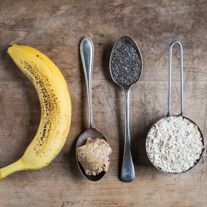 ingredients for overnight oats on a wooden table
