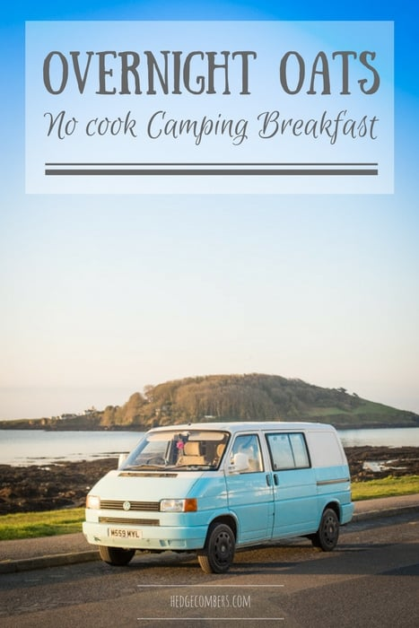 Overnight Oats being enjoyed in a Campervan in early morning light parked with the ocean and Looe Island behind