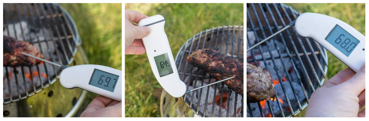 3 pictures showing a digital thermometer being used to check a piece of BBQ Pork Tenderloin to see if it's cooked.
