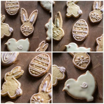 Cute iced dairy free Easter cookies on a wooden board