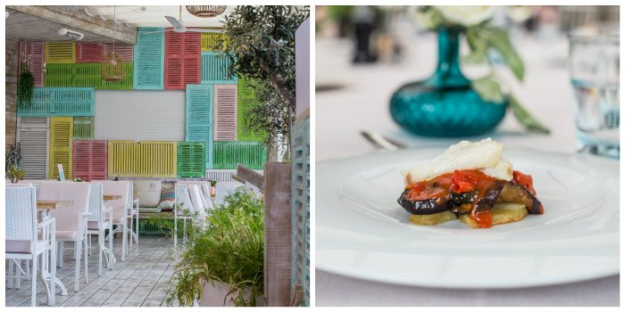 interior or Majorcan restaurant and beautiful plate of food