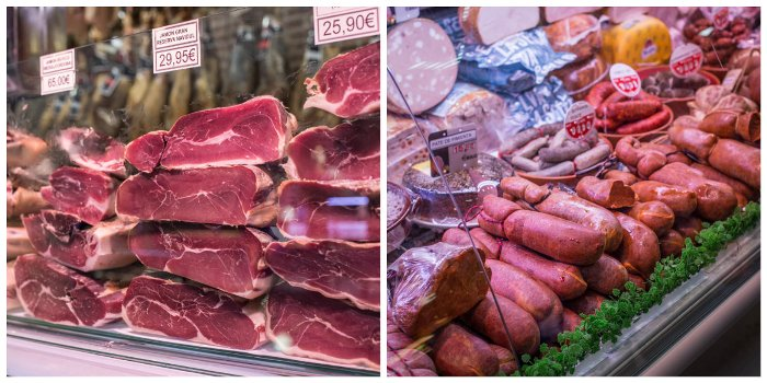 Cured meats at a Majorcan market deli stall