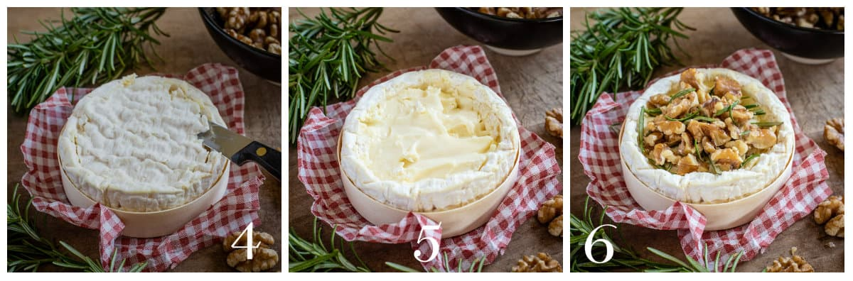 3 images showing how to make BBQ baked camembert