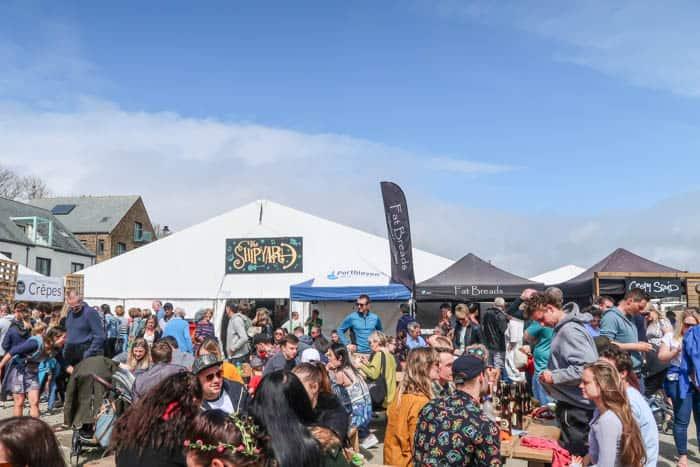 Porthleven food festival street scene