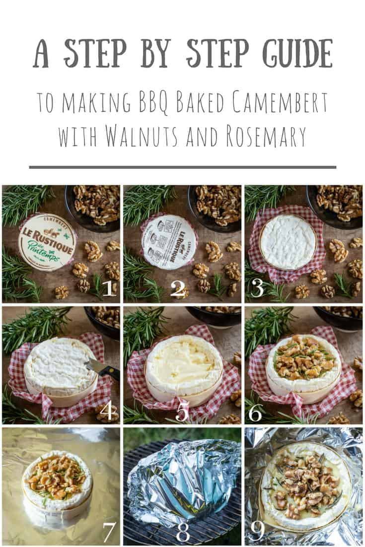 a collage of 9 images showing each step in making BBQ Baked Camembert with walnuts and rosemary