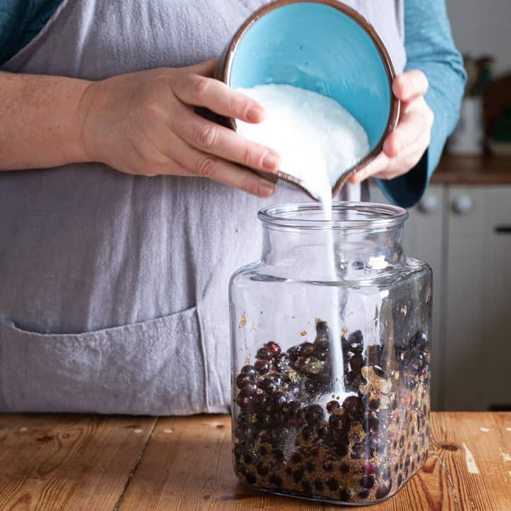 womans hands pouring sugar from a blue bowl into a large glass jar of blackcurrants
