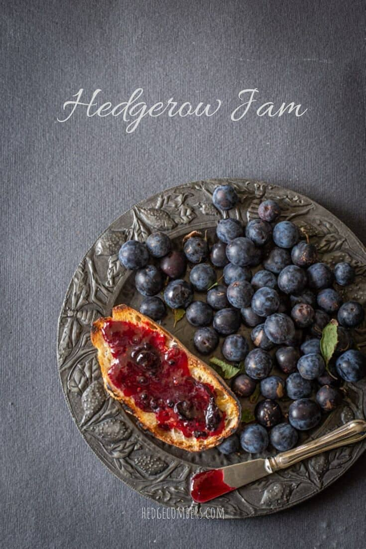 slow and blackberry jam spread on a piece of sourdough toast with fresh damsons, a pewter plate and dark background