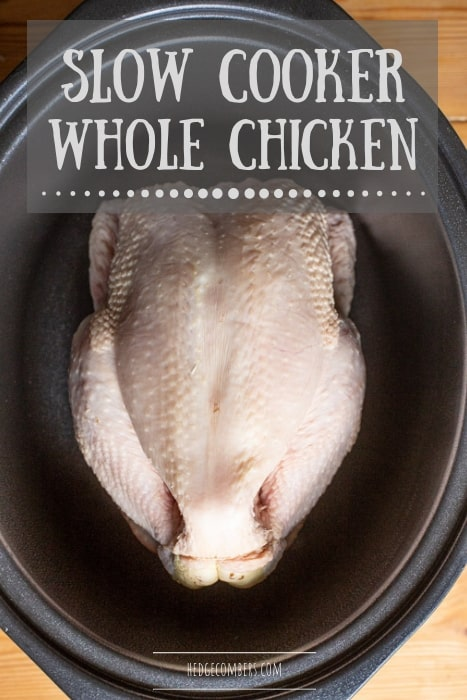 black slow cooker pot with raw whole chicken inside