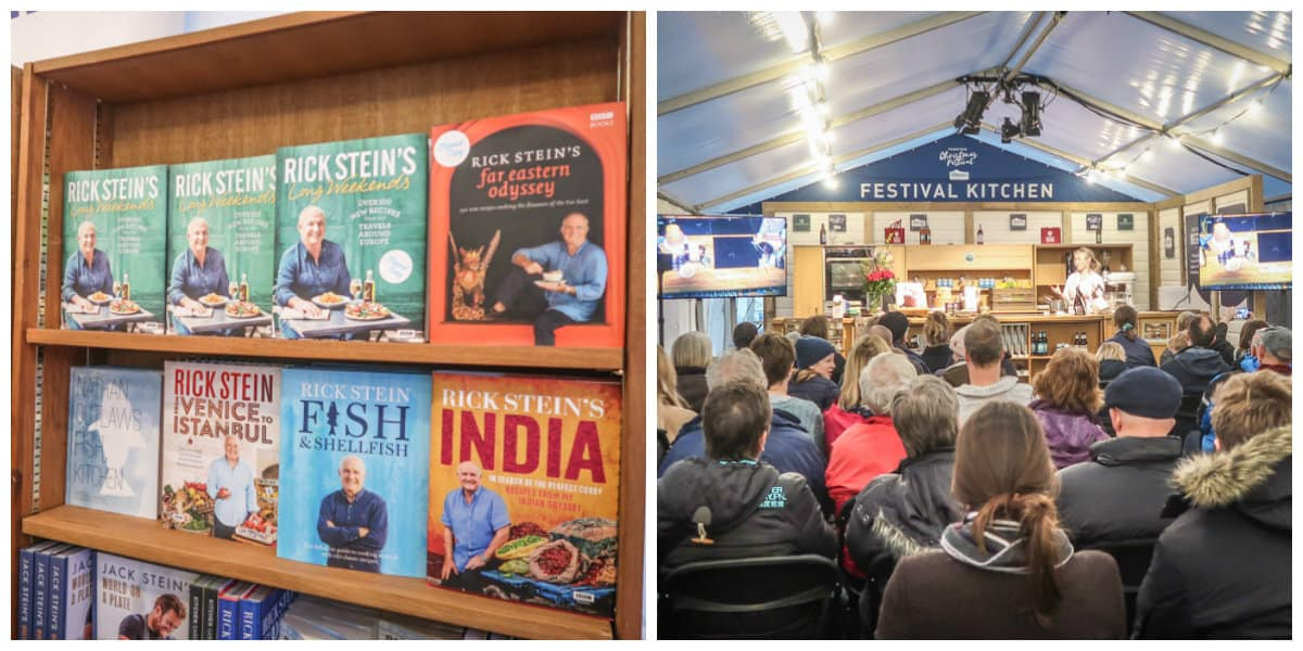 Cook books and the Chef demo stage at Padstow Christmas Festival
